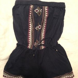 Blue Embroidered Romper Shorts Summer Festival